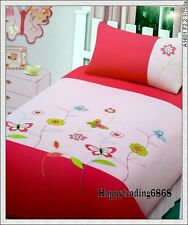 Butterfly Flora Embroidered White Pink Aqua Quilt Doona Cover Set Single Double