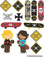 Skateboard themed colour vinyl wall art sticker set bedroom removable printed