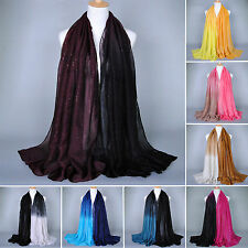 Womens Girls Shade Pashmina Long Neck Scarf Stole Shawl Wrap Soft Voile Scarves