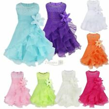 Baby Girls Princess Flower Toddler Wedding Party Pageant Organza Tutu Dresses