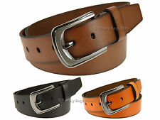 """Olly's Mens Genuine Full Grain Leather Belt 1.5"""" 38mm Width With Metal Buckle"""