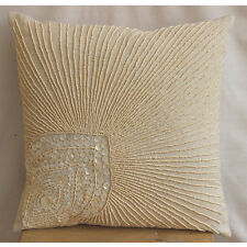 Beige Cotton Linen 30x30 cm Peacock Feather Cushion Covers - Peacock Pearls