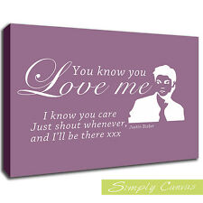 11137-YOU KNOW YOU LOVE ME JUSTIN BIEBER-Dusty Pink-QUOTE Canvas Art Wall Print