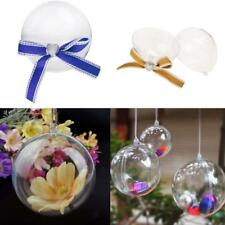 12pcs Transparent Plastic Fillable Ball with Bow Wedding Xmas Tree Decor Baubles
