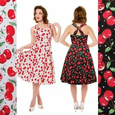 Whispering Ivy Red Cherry Print 40s 50s Vintage Party Retro Prom Tea Dress UK