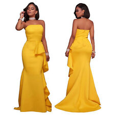 Ladies Mermaid Strapless Ball Gown Party Prom Bridesmaid Dress Evening Dresses H