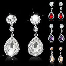Wedding Bridal Bridesmaid Rhinestone Crystal Dangle Pierced Teardrop Earrings
