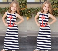 Baby Kids Girls Striped Cotton Sleeveless Casual Dress Summer Party Beach Dress