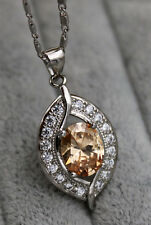 18K White Gold Filled - 8*10MM Morganite Topaz Gems Hollow Leaf Pendant Necklace