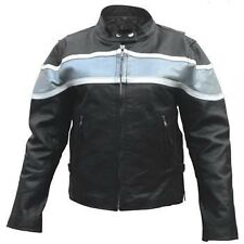 Ladies Silver 2 Tone Motorcycle Buffalo Leather 2 zippered front pockets Jacket