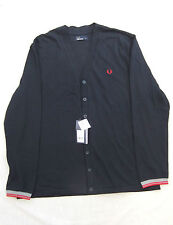 NEW FRED PERRY M4398 MENS NAVY BLUE PIQUE COTTON CARDIGAN SIZE S