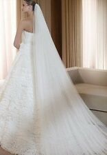 1t 2t wedding bridal veil Cathedral 3m long bride mantilla white ivory with comb