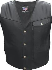 Men's thin braided trim Buffalo Leather 2 trim front & back of vest