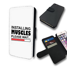 INSTALLING MUSCLES FUNNY GYM FLIP PHONE COVER CARD HOLDER CASE