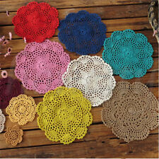Handmade Crocheted Placemat Table Mat Cotton Doily Cup Dish Kitchen Round 20cm