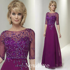 Crystals Beads Purple Mother of the Bride Dress 1/2 Sleeve A Line Prom Gown 2017