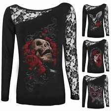 2017 Sexy Women Skull Print Lace Patchwork T-shirts Winged Long Sleeve Top Shirt