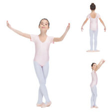 Girls Kids Ballet Leotard Gymnastics Dance Shiny Lycra Capped Sleeve Suit