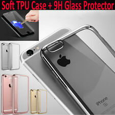 Transparent Shockproof Clear Soft Silicone TPU Case Back Cover 9H Tempered Glass