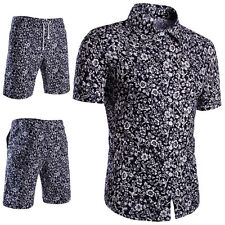 2PCS T-shirt Tops Shorts Pants Men's Summer Fashion Floral Short Sleeve