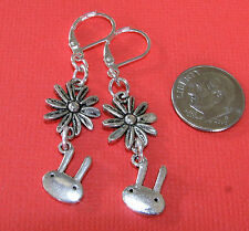 EASTER BUNNY Charm Silver Plated LEVERBACK Earrings OPTIONS:Daisy, kidney Simple