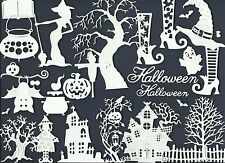 LOTS 4 - 90 PCS. SUB-SETS HALLOWEEN DIE CUTS* HOUSE GHOST WITCH HAT TREE   READ