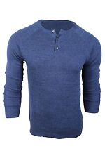 Vince Camuto Blue Cotton Rib Knit Henley Sweater Long Sleeve Men $95 NWT
