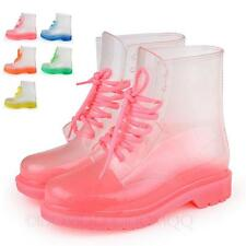 NEW Fashion Combat Ankle Lace Up Rubber Rain ladies Womens Boots Size 5 6 7 8 9