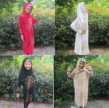 Kids Girls Dress Abaya Muslim Islamic Kaftan Scarf Hijab Arab Clothes Party Maxi
