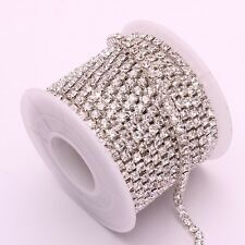 Hot 10 Yards Silver & Gold Crystal Glass Rhinestone Chain DIY Sewing Accessories