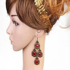 Fashion Women's Bohemian Vintage Gem Rhinestone Waterdrop Dangle Hook Earrings