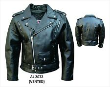 Men's Motorcycle Vented Premium Buffalo Leather 3 front zippered pockets Jacket