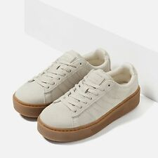 Woman ZARA CHUNKY SOLE LEATHER SNEAKERS Topstitching lace up flat shoes bluchers