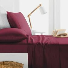 1000TC Egyptian Cotton 1pc  FLAT SHEET Sateen Solid Cranberry