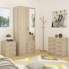STYLISH MIRRORED OAK TRIO FURNITURE - Soft Close Wardrobe,Chest & Bedside