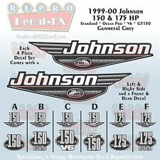 1999-00 Johnson 150/175 HP Gunmetal Grey Outboard Repro 4 Pc Marine Vinyl Decals