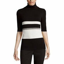 Liz Claiborne Striped Elbow-Sleeve Turtleneck Sweater Size PM New Msrp $44.00