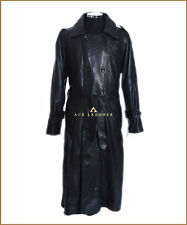 DB Trench Black Mens Full Length Real Soft Lambskin Leather Trench Coat Jacket