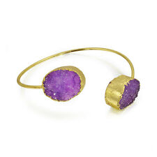 Bling Jewelry Yellow Gold Plated Druzy Agate Stackable Bangle Bracelet