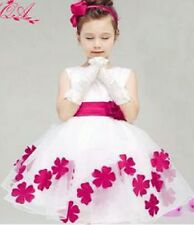 Girls Formal Cotton & Organza Ball Gown Party Dress Bridesmaids/Flower Girl