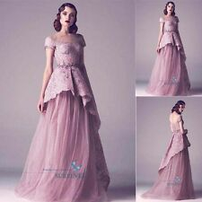 Vintage Lace Evening Dresses A-line Bridal Gown Beads Prom Gown Celebrity Dress