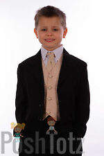 Boys Suits Pageboy Formal Wedding Suit 5pc Champagne Swirl 0-3mths-15yrs