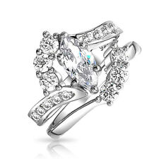 Bling Jewelry Silver 1ct Marquise CZ Engagement Wedding Ring Bridal Set