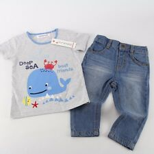 NWT BABALUNO Baby Boys 2 Pc T-Shirt Jeans Outfit Set 12-18-24 m England