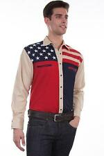 Scully Western Mens Shirt Long Sleeve Stars Stripes Antique Patriotic Tan P-756