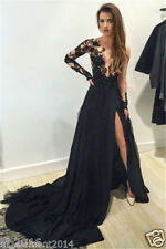 Sexy Black Long Chiffon Lace Prom Dress Formal Party Evening Dresses Ball Gowns