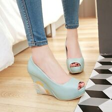 Womens Opentoe Wedge Hidden Heel Prom Shoes Platform Creeper Pumps High Heels Sz