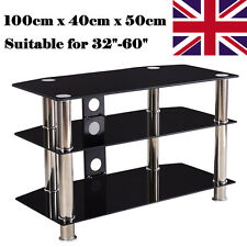 """Black Glass TV Stand Cabinet Television Table For 32 to 60"""" LCD LED Plasma TV"""
