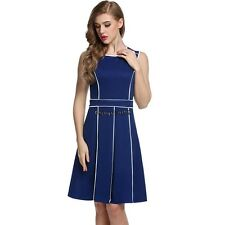 Meaneor Women Sleeveless Contrast Color Pleated Fit and Flare Party Dress OO5501