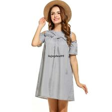 Women Casual Short Sleeve Striped Ruffled O Neck Cold Shoulder Dress OO5501